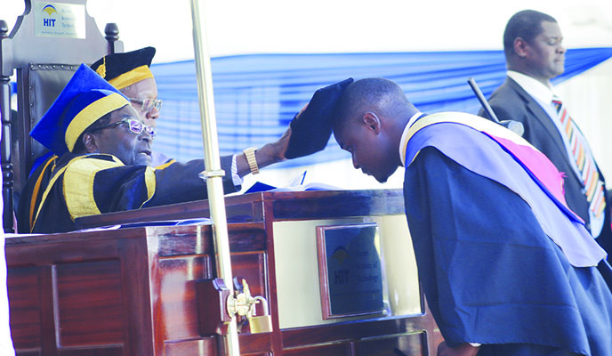 Mugabe caps 320 HIT graduates
